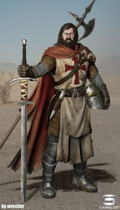 m Paladin hilvl Hvy Armor Cloak Helm Greatsword Dagger Halberd Desert rough hills eastern border steppe lg Fantasy Character Design, Character Design Inspiration, Character Art, Crusader Knight, Knight Armor, Empire Characters, Fantasy Characters, Fantasy Portraits, Character Portraits