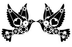 steampunk cogs love dove stencil 2