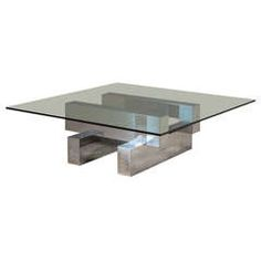 A Chrome Paul Evans Style Coffee Table 1980s