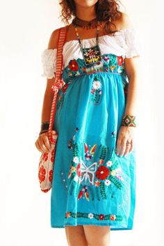 47f3d7f7a4898 Mexican embroidered blue dress by Aida Coronado from Mexico with love