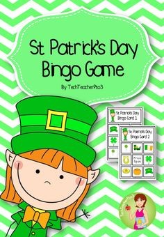 St Patrick's Day Bingo Game - 5 different game cards, calling cards and counters.