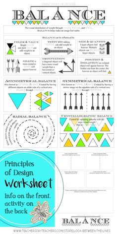 Principles of Design, Balance: Middle or High School In Class Art Activity I use my principles of design worksheets in my Introduction to Art class every year. This printable worksheet covers the principle of design, balance. Elements And Principles, Elements Of Art, Principles Of Art Balance, Middle School Art, Art School, High School, Balance Art, Balance Design, Art Doodle