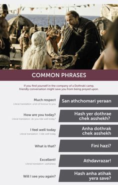 "Here's The ""Game Of Thrones"" Dothraki Phrasebook You Were After"