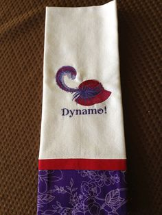 White waffle weave towel with Red Hat design by ChampagneThreads, $10.00