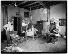 Painters John Sloan, Will Shuster and Josef Bakos in Sloan's studio in Sante Fe, N.M. 1939. Ernest Knee, photographer.