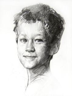 Техника исполнения: бумага, графитный (простой) карандаш. Размер: 30/35 см. 2013 г.  Заказать портрет с натуры или по фото, Санкт-Петербург.