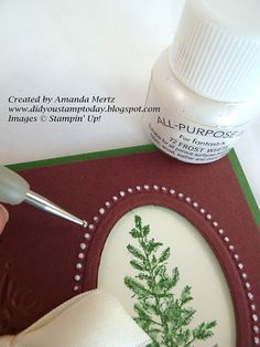 highlight the small raised dots around the oval frame with Frost White shimmer paint