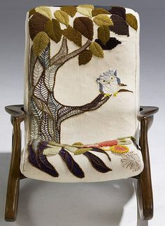 A chair crewel embroidered by Erica Wilson herself. It sold on eBay for $10000! Time to design my own! Ha!