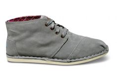 want these!!    Introducing the TOMS take on the desert boot: a versatile approach to any occasion. Featuring clean lines and soft suede construction, the adaptable Grey Suede Desert Botas.
