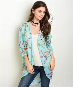 Women's Aqua Floral Open Front Boutique Kimono | Cali Boutique | FREE U.S. Shipping