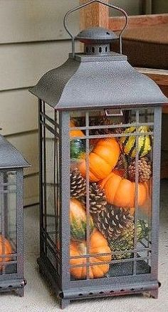 Fill a lantern with gourds and pumpkins, I have a lantern, just need the pumpkins!