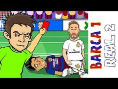 Barcelona 1 Real Madrid: El Clasico the cartoon video) Sergio Ramos Red Card, Ronaldo Goals, Barcelona Vs Real Madrid, 1 Real, Character Base, Cristiano Ronaldo, Animation, Cartoon, Sports
