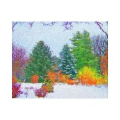Autumn trees in the snow painting wrapped canvas