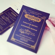 Gatsby Wedding Invitations in Gold Foil on Navy Paper
