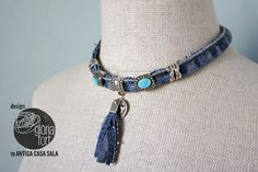 Jeans necklace _ glòria fort #freetutorial #jeans #recycling #tejanos #reciclaje #necklace #DIY #collar