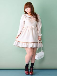 Classical Heart Print One Piece by Plumprimo - ¥4,320 (~$38) They specialize in plus sized clothing! ~Lapin Chocolat