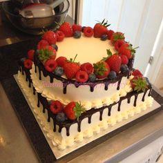 Mandy's baking journey: Two tiered Forest fruit cake Chocolate Cake Designs, Chocolate Fruit Cake, Square Cake Design, Square Cakes, Cake Decorated With Fruit, Strawberry Birthday Cake, Fruit Cake Design, Fresh Fruit Cake, Retirement Cakes