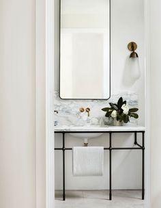 Emily Henderson bathroom trends 2019 modern bathroom with modern marble vanity and modern vanity light Bathroom Trends, Bathroom Inspo, Bathroom Inspiration, Modern Bathroom, Bathroom Marble, Minimal Bathroom, Bathroom Sinks, Bathroom Ideas, Bathroom Remodeling