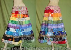 Long Tiered Rainbow Patchwork Skirt   Can Be by EnlightenedLibra, $115.00