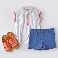 Bonheur du jour shirt + Pom d'Api sandals + shorts Look at Me   http://www.mylittlesquare.com/en/