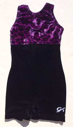 GK Elite Biketard Purple Black Animal Print cm Child Medium Gymnastics Leotard | eBay
