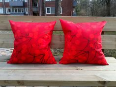 Pillow covers made from Marimekko fabric Lumimarja, Scandinavian pillow sham or case, couch cushion cover, modern red accent pillow set of 2