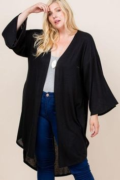 Made In U.S.A 1XL.2XL.3XL Plus Size Solid Hacci Brush Open Front Long Cardigan with Bell Sleeves 74% Rayon 22% Polyester 4% Spandex Black EME Plus Size Solid Hacci Brush Open Front Long Cardigan With Bell Sleeves Plus Size Cardigans, Plus Size Tops, Black Cardigan, Long Cardigan, Cardigan Design, Cardigan Fashion, Open Front Cardigan, Fashion Boutique, Diva Boutique
