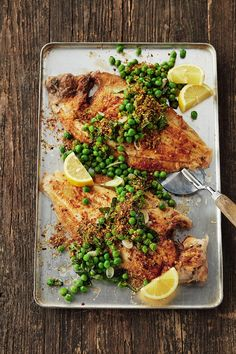 Lemon sole is a flat fish with a mild flavour and it goes wonderfully well with these basil-scented garden peas. Steak Recipes, Fish Recipes, Lemon Sole Recipes, Baked Stuffed Lobster, Fish Supper, Food Articles, Asparagus Recipe, Latest Recipe, Kitchens
