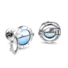 Theo Fennell Periscope Cufflinks in white gold feature hand-painted enamel scenes of the view through a submarine periscope