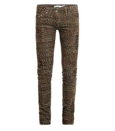 Printed corduroy skinny trousers  by Isabel Marant. These beige micro-corduroy trousers have a mid-rise and skinny leg with a multi-coloured embroidery print. The fitted trousers have the classic five pockets and belt loops with a top button and zipped front fastening. 68% cotton, 30% polyester, 2% elastane. Lining: 100% cotton. Machine wash. #Matchesfashion