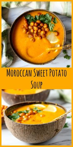 Moroccan Sweet Potato Soup Sweet potatoes are blended with chickpeas and warm Moraccan spices in this hearty, delicious, and easy to make soup. With optional roasted chickpea topping. Fall Soup Recipes, Healthy Soup Recipes, Vegetarian Recipes, Cooking Recipes, Blended Soup Recipes, Healthy Fall Soups, Vegetarian Grilling, Healthy Grilling, Sweet Potato Soup