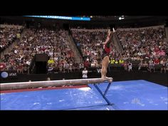 Shawn Johnson gif. 2011 Visa Championships Day 2 Beam first pass back handspring, back handspring, layout #gymnastics #comeback