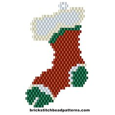 Free Christmas Sock Stocking Brick Stitch Beaded Earring pattern, color chart, letter chart, and bead count by Brick Stitch Bead Patterns Journal
