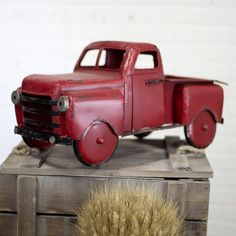Vintage Inspired Red Step Side Truck Reproduction