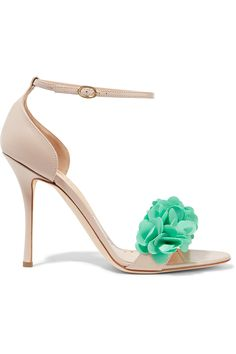 On SALE at OFF! florinda pvc-trimmed leather sandals by Rupert Sanderson. Heel measures approximately 4 inches . Pvc Trim, Flower Shoes, Leather Sandals, Shoes Sandals, Nude Heels, Blush Pink, Turquoise, Champagne, Neutral