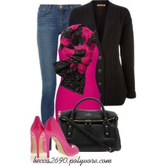 """""""Pink & Black"""" by becca2690 on Polyvore"""