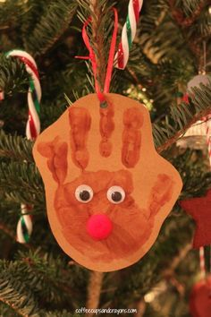 This handprint reindeer ornament was one of the very first kid-made ornament that my oldest made when she was just a toddler and is still a favorite to this day!