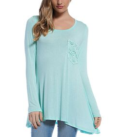 Another great find on #zulily! Mint Crochet-Pocket Scoop Neck Tunic #zulilyfinds