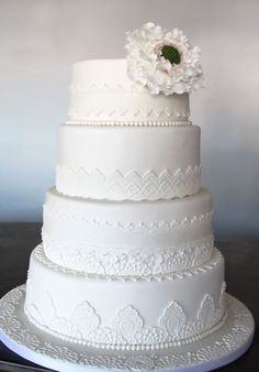 Various lace tiered cake