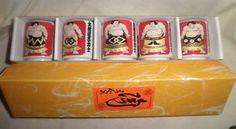 Sumo Wrestler Saki Cups Set of 5 in original box Mid Century Japan