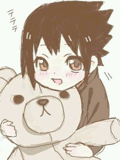 Little Sasuke with a Teddy Bear, my life is complete