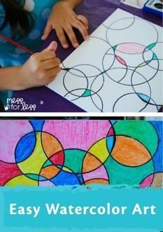 Kids Art Projects - Watercolor Circle Art. The results are always eye catching no matter how kids chose to paint it! | kids crafts