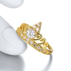 Show details for Fashion Rings Women Classic Crown Gold Plated Rose Gold Plated Copper Zircon Daily