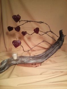 Reclaimed Wood Art Heart Tree Candle Holder Sculpture Artist Signed Barbed Wire