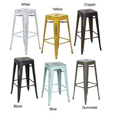 Vintage 30 Inch Antique Finish Modern Style Sheet Metal Cafe And Bistro Bar Stools