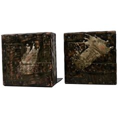 Pair of Paul Evans Brutalist Patchwork Copper, Pewter, and Brass Bookends | From a unique collection of antique and modern bookends at https://www.1stdibs.com/furniture/more-furniture-collectibles/bookends/
