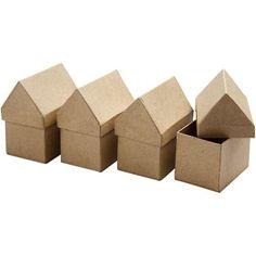 Handgjorda husaskar i papier-maché. Stl. 6x8,5 cm, H: 10,5 cm. Husaskarna säljs i 4-pack och i 20-pack. Om du köper en förpackning av varje så har du så det räcker till en hel...
