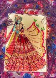 Krishna Painting, Krishna Art, Indian Art Paintings, Fantasy Paintings, Fashion Illustration Sketches, Illustration Art, Fashion Figure Drawing, Indian Folk Art, Art Drawings Sketches Simple