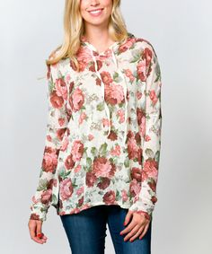 Look at this Ivory & Burgundy Floral Hoodie - Women on #zulily today!