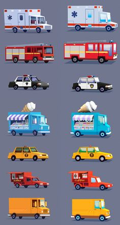 Cartoon stylized cars on Behance